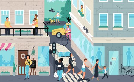 Urban street scene, people living in city, vector illustration. Cartoon characters crossing street, walking and riding. Residential neighborhood of metropolis. People urban lifestyle in modern city