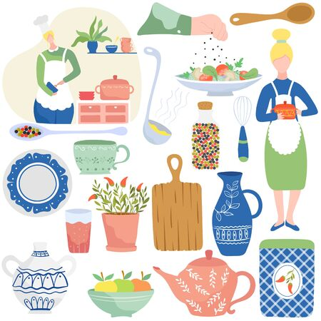 Cooking in home kitchen, isolated icons vector illustration. Set of stickers with kitchenware, dishes and decorative accessories. Housewife cooking meal at home, flat style cookware, kitchen utensils Archivio Fotografico - 138461515