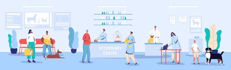 Veterinary center reception and waiting room vector illustration. People cartoon characters with pets in vet clinic, appointment with veterinarian. Medical center for animals, pet owners and doctors Фото со стока - 138465297