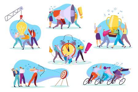 Concept de travail d'équipe créatif, illustration vectorielle de personnages de dessins animés de style plat. Une équipe de projet d'entreprise ambitieuse atteignant ses objectifs, des personnes motivées travaillant ensemble. Carrière réussie de travail dans l'équipe