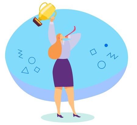 Successful woman with trophy cup, award winner champion, vector illustration. Businesswoman holding golden prize, celebrating victory. Win competition, business career success. Best achievement award 일러스트