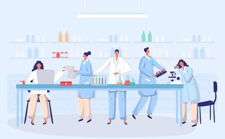 Labor-Coronavirus-Antivirus-Impfstoff antivirale Biologieforschung Ärzte Menschen Konzept mit Kolbenvektorillustration. Wissenschaftler im Labor, chemische Virusforscher mit Laborausrüstung.