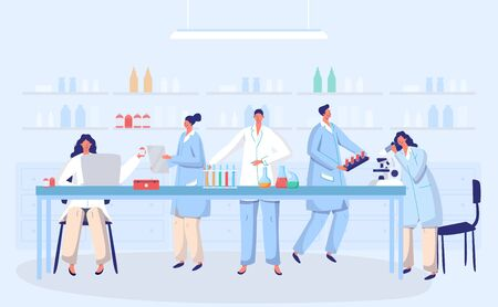 Laboratory coronavirus antivirus vaccine antiviral biology research doctors people concept with flask vector illustration. Scientists in laboratory, chemical virus researchers with lab equipment.