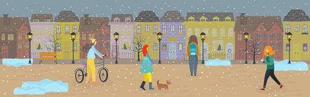 People walking first snow streets of old town in winter, vector llustration. Woman with dog, man riding bicycle, cartoon characters. Cozy houses preparing for Christmas, winter holiday season. People in town