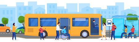 Personas en la parada de autobús, pasajero discapacitado en silla de ruedas, ilustración vectorial. Hombres y mujeres esperando autobús, transporte público moderno en la gran ciudad. Personajes de dibujos animados de pasajeros, acceso de transporte Ilustración de vector