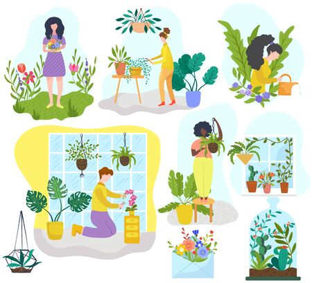 People growing houseplants and flowers, gardening hobby vector illustration. Cartoon characters, men and women watering plants at home. Set of stickers with decorative greenery, flowerpots houseplants