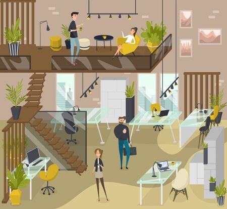 People in creative coworking area, modern workplace vector illustration. Men and women freelance workers in modern open space, shared workplace. Coworking concept, cartoon characters creative business Vetores