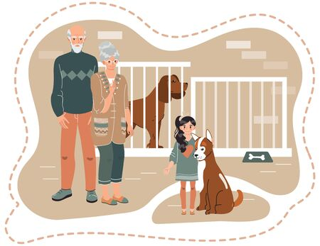 Family adopting dog from animal shelter, vector illustration. Happy girl with grandparents adopt cute puppy, people choose pet in dog shelter. Animal care center, elderly couple cartoon characters