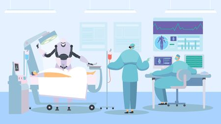 Robot performing surgery, future of healthcare industry, vector illustration. Modern hospital with advanced technologies, artificial intelligence concept. Robot surgeon in operation room modern clinic Ilustracja