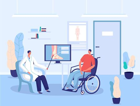 Disabled patient in wheelchair, hospital doctor consultation, vector illustration. Leg injury examination, diagnosis and treatment in healthcare clinic. Doctor explaining treatment plan to patient Иллюстрация