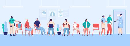 Patients waiting in clinic, people in hospital hall, vector illustration. Doctor appointment, men and women wait in queue. Healthcare center, medical clinic service. Patients sitting in waiting room
