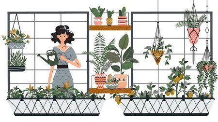 Frau, die Zimmerpflanzen auf dem Balkon gießt, Gartenhobby-Vektorillustration. Mädchen-Cartoon-Figur, die Pflanzen zu Hause anbaut, lächelnde Frau mit Gießkanne auf dem Balkon. Gemüsegarten und Zimmerpflanzen