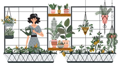 Woman watering houseplants on balcony, gardening hobby vector illustration. Girl cartoon character growing plants at home, smiling woman with watering can on balcony. Kitchen garden and houseplants