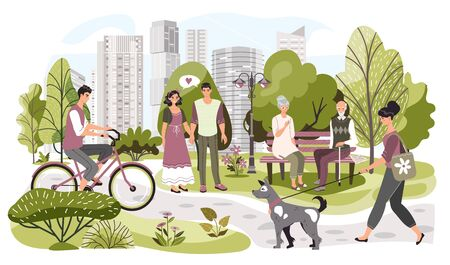 People in city park, weekend leisure in nature, vector illustration. Summer park in modern metropolis Illustration