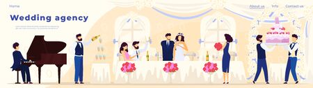 Wedding banquet in restaurant, catering agency website design, vector illustration