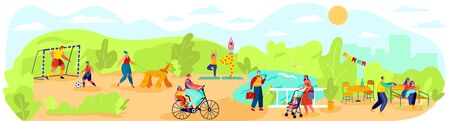 Happy people spend time with family outdoor in park, healthy lifestyle vector illustration. Summer weekend in nature, parents and children together, outdoor leisure activity for family in city park