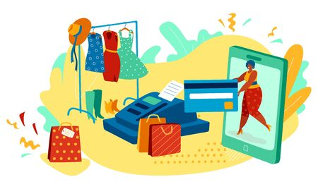 Woman shopping online in fashion clothes store, credit card payment vector illustration