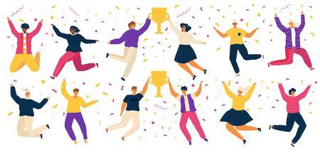 Gente saltando, personajes de cartón felices, ilustración de vector de ganador del premio. Hombres y mujeres celebrando la victoria en la competencia, gente alegre salta con trofeo. Fiesta de celebración del ganador del concurso