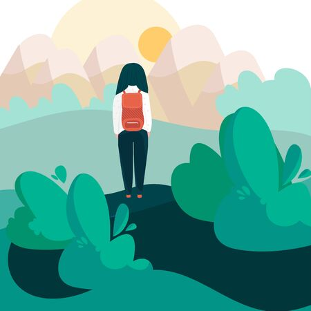 Girl with backpack hiking alone in nature, vector illustration