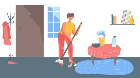 Woman sweeping floor at home, cleaning household routine, vector illustration