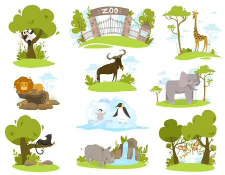 Zoo animals cartoon characters, set of isolated stickers vector illustration