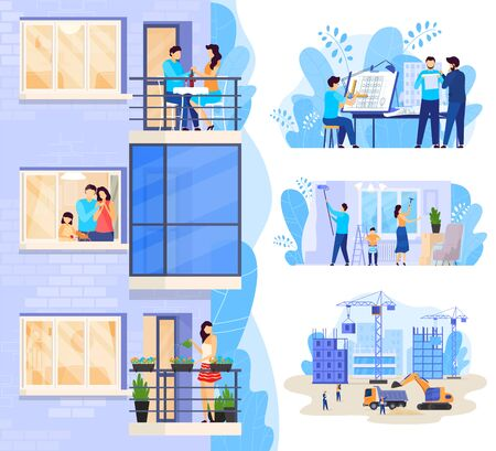 Happy family in modern apartment, new house construction vector illustration Stock Illustratie