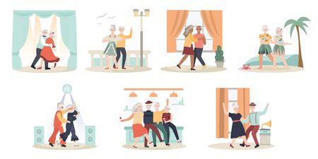 Elderly couple dancing, cartoon characters vector illustration Stock Illustratie