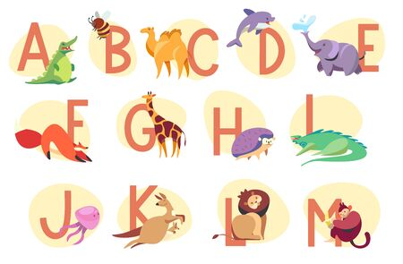 Alphabet with exotic animals, children abc vector illustration. Learn English language in kindergarten, cute animals cartoon characters. Letters of English alphabet for preschool kids education Stock Illustratie