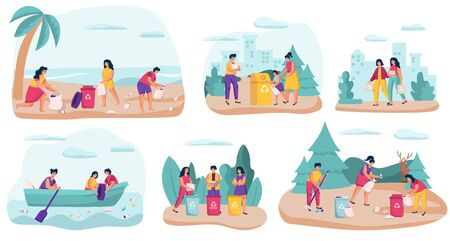Volunteers collecting garbage in nature, vector illustration. People cleaning beach, park, forest and sea. Cartoon characters gathering trash in bags for recycling. People volunteers, garbage cleaning