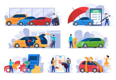 Buying new car, insurance and money saving concept, vector Illustration. People cartoon characters using cars automobile owner, modern vehicle service. Auto salon credit, insurance company website app