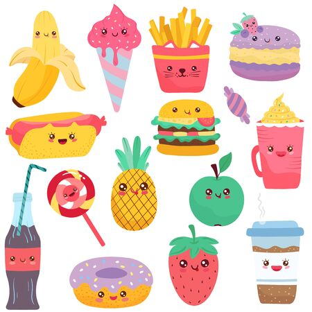 Isolated childish icons of food, cute cartoon characters vector illustration. Set of stickers with kawaii food mascots, fruits and sweets, snack and drink. Fast food hamburger, hotdog and french fries