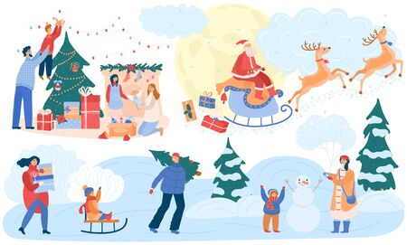 Happy family celebrating Christmas winter, cartoon characters vector illustration. Parents and children sledding outdoors, building snowman and decorating Christmas tree together. Santa brings presents