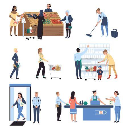 Ludzie robiący zakupy w supermarkecie, ilustracja wektorowa sklepu spożywczego