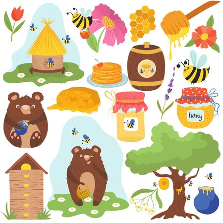 Honey funny cartoon icons vector illustration. Cute bear cub eats honey, bees collecting flower nectar. Set of isolated stickers in childish style, flying honeybees, organic honey production