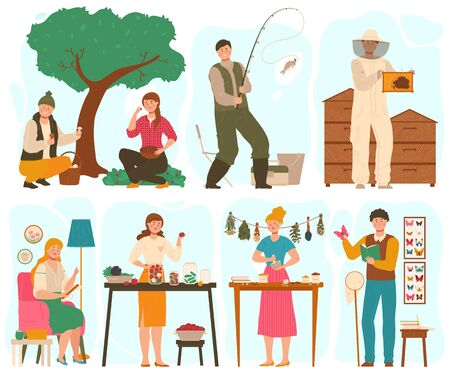 People with different hobbies, set of cartoon characters, vector illustration. Men and women fishing, canning vegetables, embroiders and collecting butterflies. Creative hobby, leisure activity set Ilustração