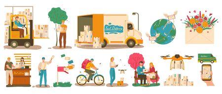 Service de livraison de courrier, courrier avec colis et facteur avec lettre, illustration vectorielle. Personnes utilisant les services postaux, livraison du courrier dans le monde entier. Hommes et femmes envoyant et recevant des colis par la poste