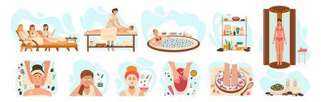 Femmes au centre de spa, procédures de salon de beauté bien-être, illustration vectorielle. Soins professionnels de la peau et du corps dans un salon de spa, procédures cosmétiques relaxantes. Femme au centre de bien-être de luxe