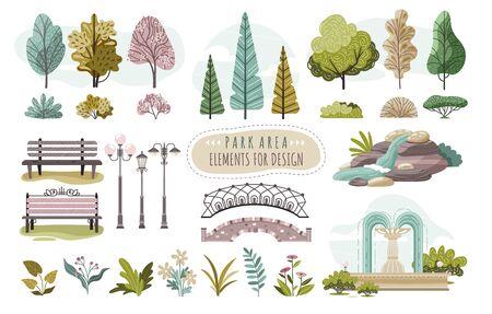 Ensemble d'éléments de parc isolés, d'arbres et de fleurs, illustration vectorielle. Autocollants créatifs avec la nature, le parc ou la forêt. Différents arbres, buissons, banc, lampadaire et fontaine. Collection d'icônes de la nature