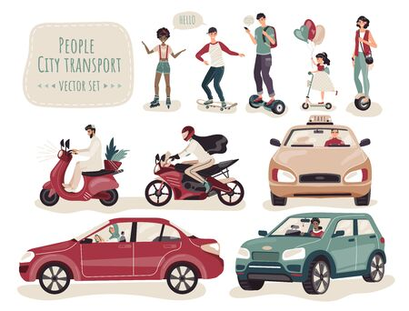 People using different kinds of transport, set of cartoon characters, vector illustration. Teenager riding skateboard and roller skaters, adult men and women driving car and bike. Modern transport set