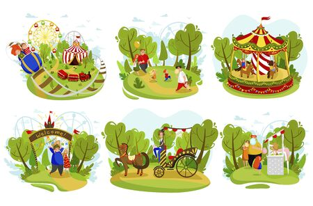 Happy family together in summer amusement park, vector illustration. Parents and children cartoon characters having fun at fairground, summer weekend in city park. Family at funfair, set of stickers Illustration