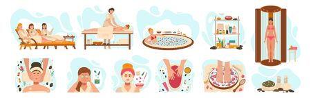 Women in spa center, wellness beauty salon procedures, vector illustration. Professional skin care and body treatment in spa salon, relaxing cosmetic procedures. Woman in luxury wellness center Illusztráció
