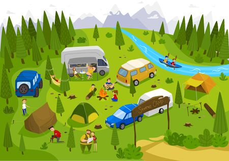 Summer camping outdoor in nature, people on vacation, vector illustration. Campground near forest, river and mountains. Family vacation in summer camp with tents, active leisure and relaxing in nature