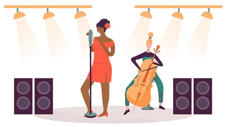 Woman singing on stage, musician playing cello, vector illustration