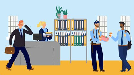 Coffee break at police station, officers eating doughnuts, vector illustration. Secretary in police department sorting folders while policemen in uniform drink coffee. Smiling cartoon characters