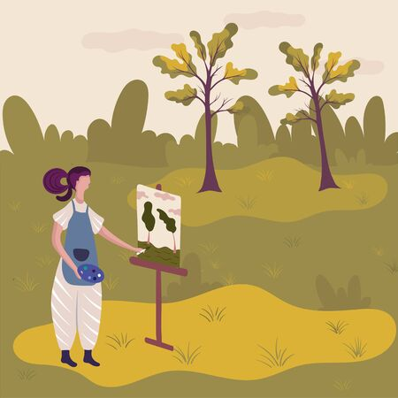 Artist painting nature landscape in plein air, vector illustration. Woman painter cartoon character at easel with art palette and paintbrush. Female artist painting trees in nature, creative hobby