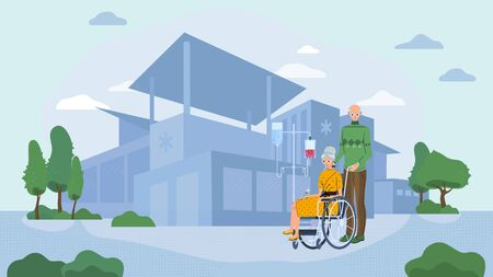 Elderly couple in hospital, senior woman in wheelchair, vector illustration. Old people cartoon characters, elderly woman rehabilitation in healthcare clinic. Senior man takes care of his wife