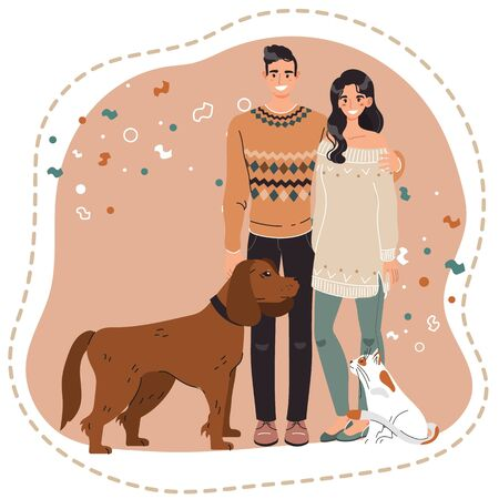Happy couple with pets, owners of dog and cat, vector illustration. Young man and woman together, cute cartoon characters, animal lovers. Boyfriend and girlfriend, smiling people adopted dog and cat