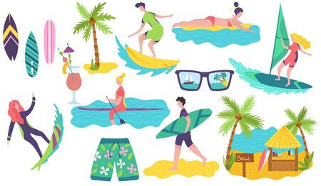 People surfing on summer vacation, set of stickers, vector illustration. Seaside active leisure, men and women with surfboards, ocean beach vacation. Surfers cartoon characters, summer travel activity