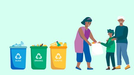 Family sorting trash and recycling waste, people collecting garbage, vector illustration Vektorové ilustrace