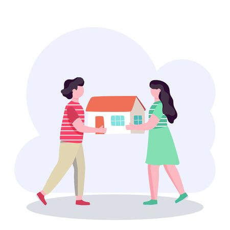 Couple holding a model of new house, real estate mortgage concept, vector illustration